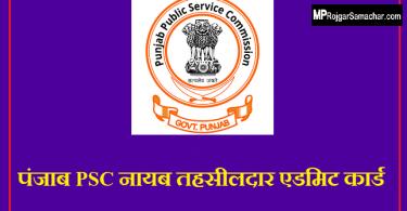 Punjab PSC Naib Tehsildar Admit Card